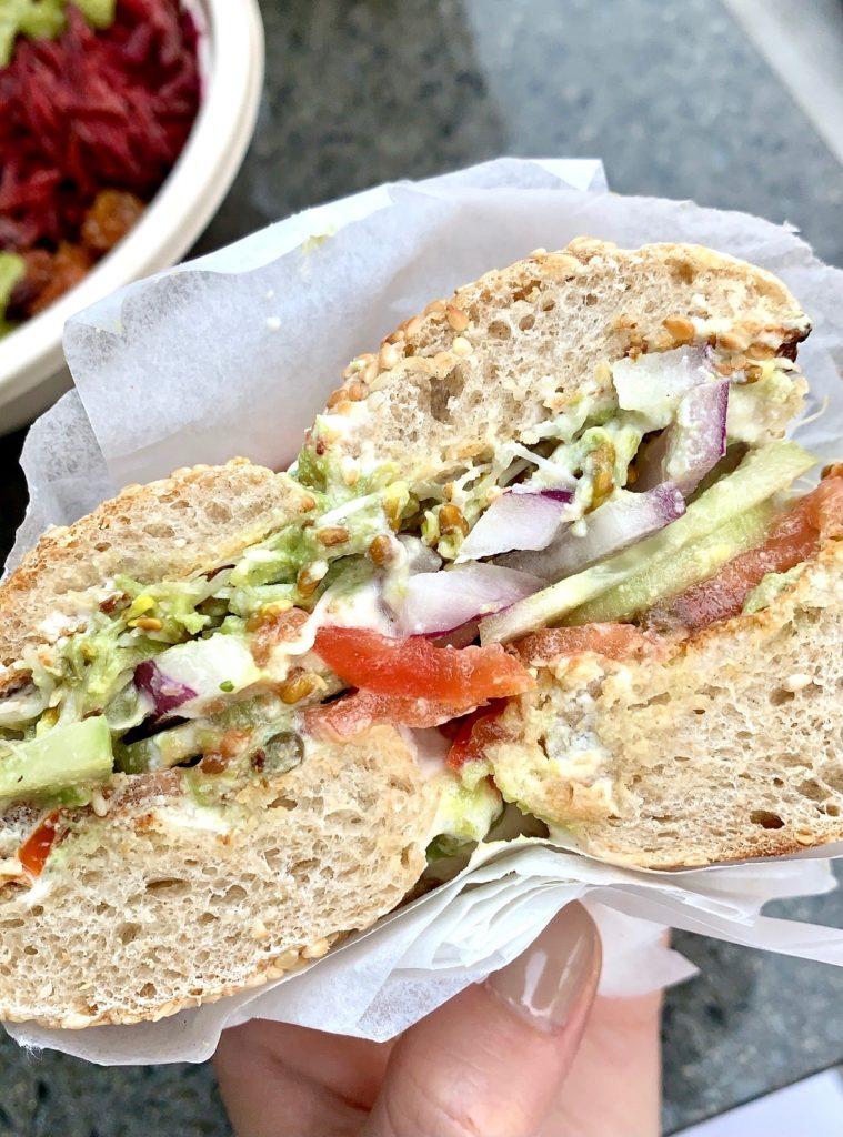 Loaded vegan bagel at Juice Ranch in Santa Barbara.